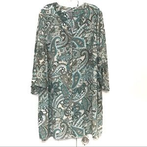 CATHERINES/BUTTON FRONT TUNIC/TEAL CREAM/SIZE 2X